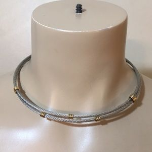 Anthropology Silver & Gold Chain Choker Necklace